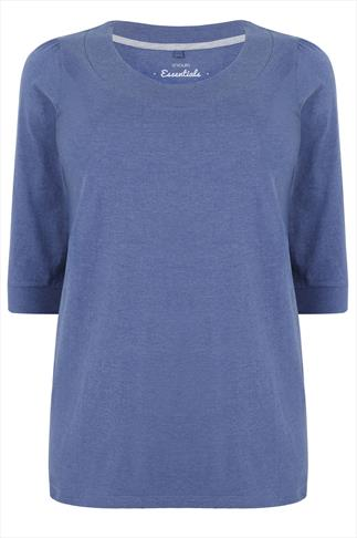 Denim Blue Scoop Neckline T-Shirt With 3/4 Sleeves