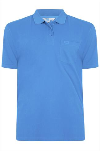 BadRhino Blue Plain Polo Shirt - TALL