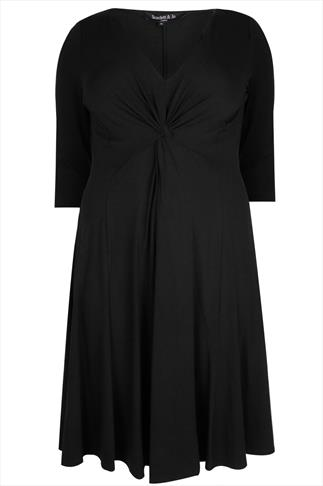 SCARLETT & JO Black Jersey Midi Dress With Knot Front Detail