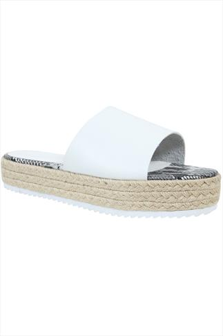White Flatform Espadrille Sliders In E Fit 057207
