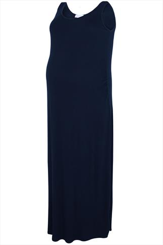BUMP IT UP MATERNITY Navy Maxi Dress With Ruched Waist Side Detail