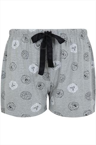 Grey Marl Sheep Print Pyjama Shorts