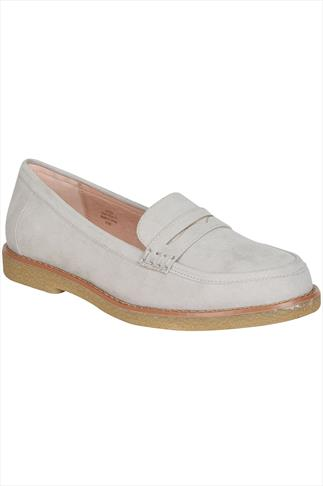 Light Grey COMFORT INSOLE Faux Suede Slip On Loafer In E Fit