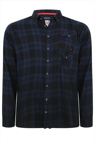 D555 Navy & Black Double Pocket Checked Shirt