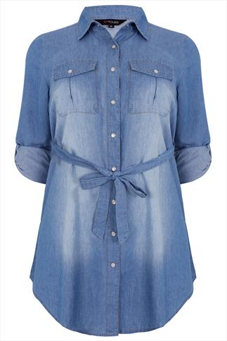 Blue Light Wash Denim Longline Shirt With Waist Tie