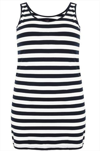 Navy & White Stripped Longline Vest Top