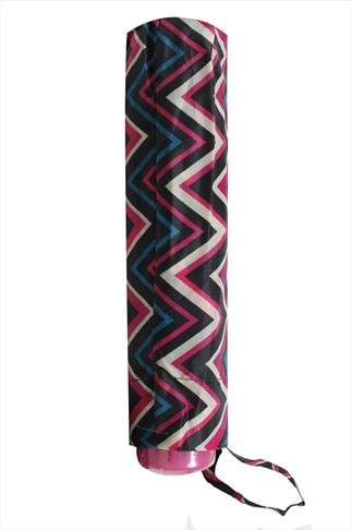 Black, Pink & Blue Zigzag Print Umbrella