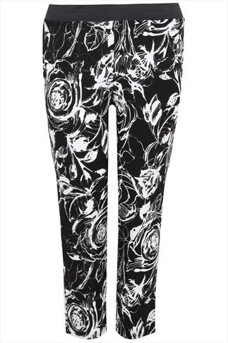 Black & White Floral Sketch Print Jersey Cigarette Trousers