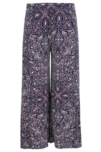 Navy & Burgundy Paisley Print Palazzo Trousers