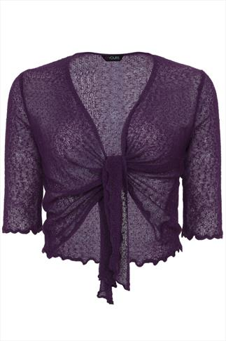 Purple Slub Knit Shrug With Tie