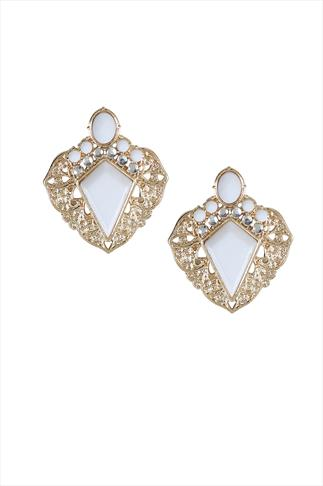 Gold Tone White Diamond Point Statement Earrings