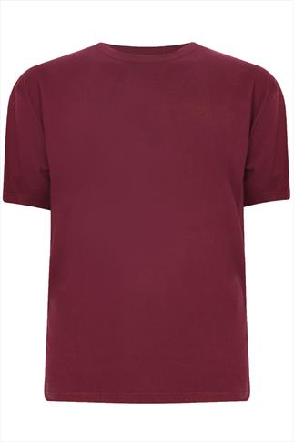 BadRhino Burgundy Basic Plain Crew Neck T-Shirt