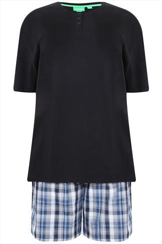 D555 Black T-Shirt With Woven Checked Shorts