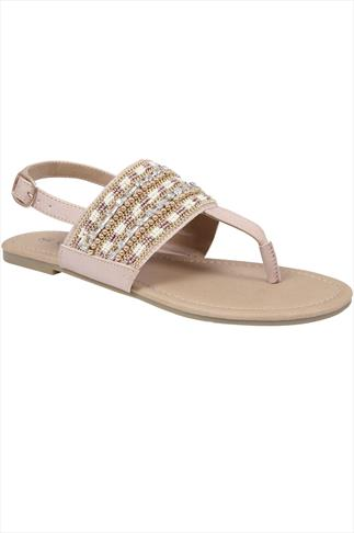 Nude Bead & Diamanté Strap Sandals In E Fit 057203