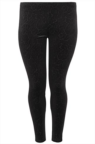 Black Embossed Floral Velour Leggings