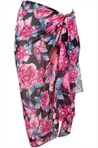 Pink And Black Rose Floral Print Sarong