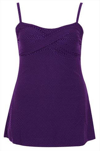 TUMMY CONTROL Purple Polka Dot Swimdress