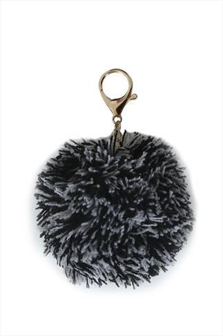Black & White  Kitted Pom Pom Keyring