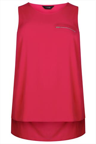 Pink Sleeveless Dipped Hem Top With Zip Pocket Detail