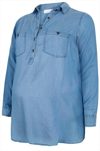 BUMP IT UP MATERNITY Denim Blue Longline Shirt With Waist Tie