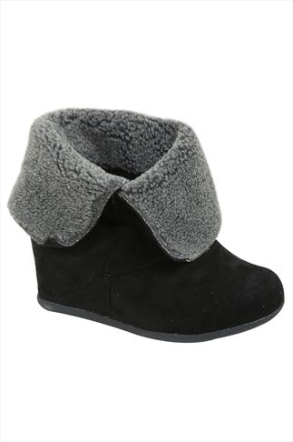 Black & Grey Fold Over Wedge Boots In EEE Fit
