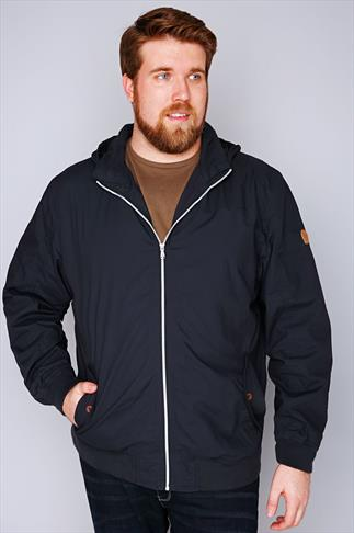 Jackets D555 Navy Cotton Lined Jacket With Hood 057634
