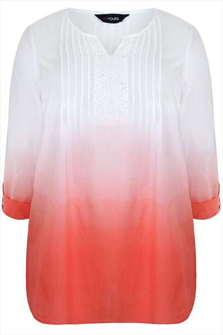 White & Peach Dip Dye Long Sleeved Blouse