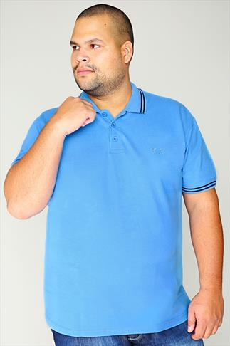 Polo Shirts BadRhino Light Blue Polo Shirt With Navy Stripe Detail - TALL 055149