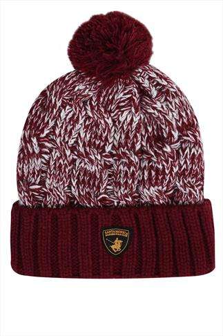 SANTA MONICA Burgundy Knitted Bobble Hat