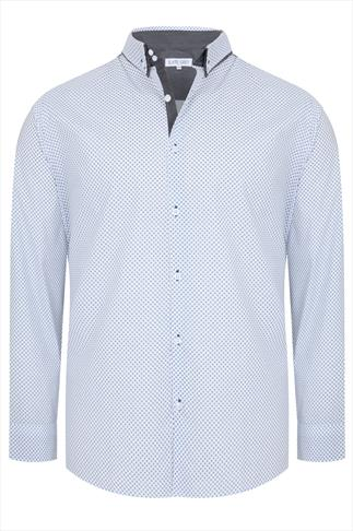 Slate Grey White & Navy Print Formal Long Sleeve Shirt - TALL