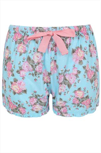 Blue And Pink Vintage Floral Print Cotton Pyjama Shorts