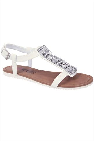 White Jewel Trim E Fit Sandal With Cleated Sole