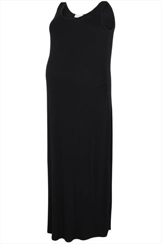 BUMP IT UP MATERNITY Black Maxi Dress With Ruched Waist Side Detail