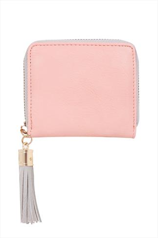 Pastel Pink PU Zip Around Purse With Tassel 057260