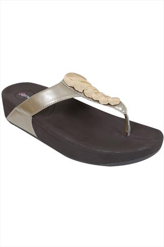 Pewter Chunky Toe Post Sandals With Metallic Discs In EEE Fit