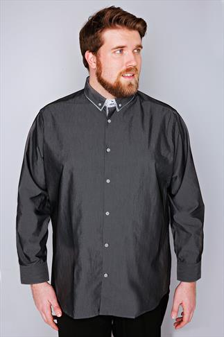 Smart Shirts Slate Grey Dark Grey Formal Long Sleeve Shirt - TALL 054653