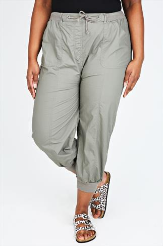 Khaki Cropped Poplin Trousers With Ribbed Waistband