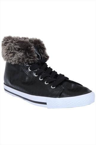 Black Lace Up Hi Top Trainers With Fur Trim In EEE Fit
