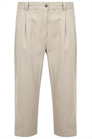 Stone Stretch Waist Chino Trousers With Pockets - TALL