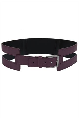 Purple PU Cut Out Wide Waist Belt With Elasticated Band