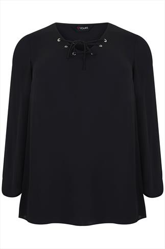 Black Lightweight Chiffon Long Sleeved Top With Eyelet Detail
