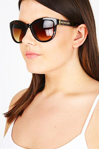 Tortoiseshell Cat Eye Sunglasses With Gold Arm Detail
