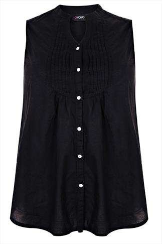 Black Sleeveless  Shirt With Pin Tuck Detail