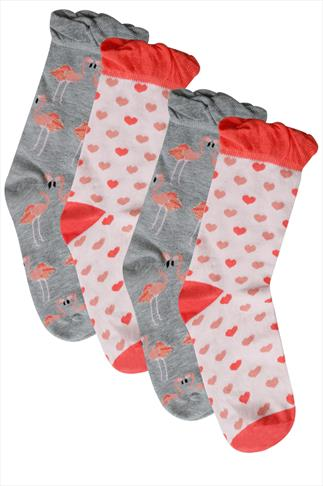 2 PACK Pink & Grey Flamingo Socks