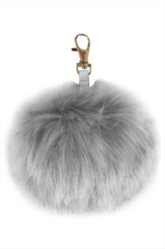 Light Grey Fluffy Pom Pom Keyring