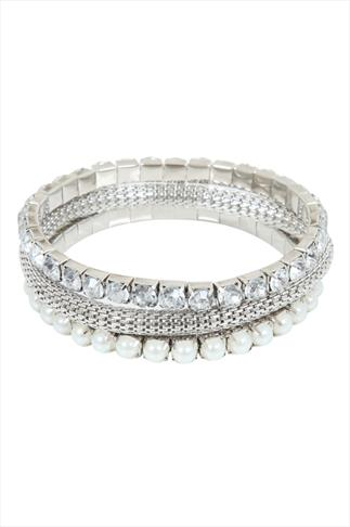Silver Assorted Pearl & Crystal Stretch Bracelet Pack