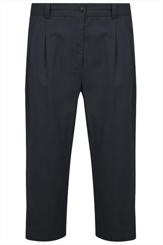 Navy Stretch Waist Chino Trousers With Pleats - TALL