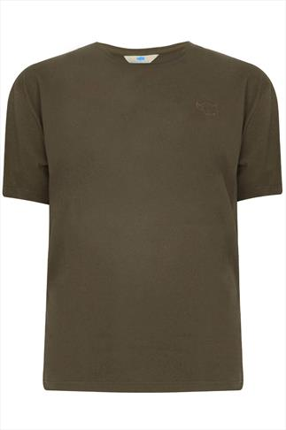 BadRhino Khaki Basic Plain Crew Neck T-Shirt - TALL