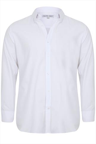 Slate Grey White Formal Long Sleeve Shirt - TALL