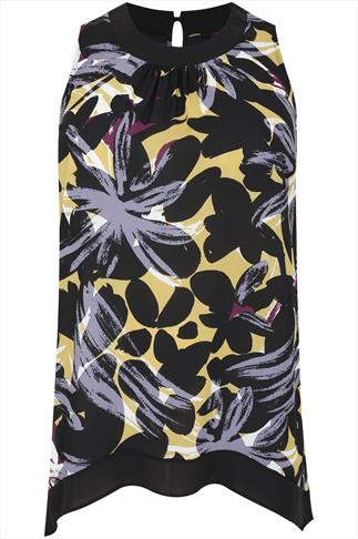 Black & Multi Leaf Print Hanky Hem Longline Top